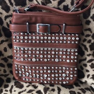 Crossbody purse with Crystal accents and studs